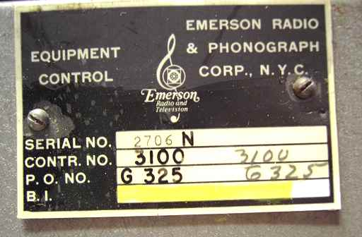 HP400A property tag showing Emerson Radio