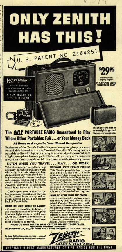 Zenith 5g500 And 6g501m Universal 3way Portables. Zenith Model 5g500 Ad. Wiring. Zenith Tube Radio Schematics 10g 130 At Scoala.co