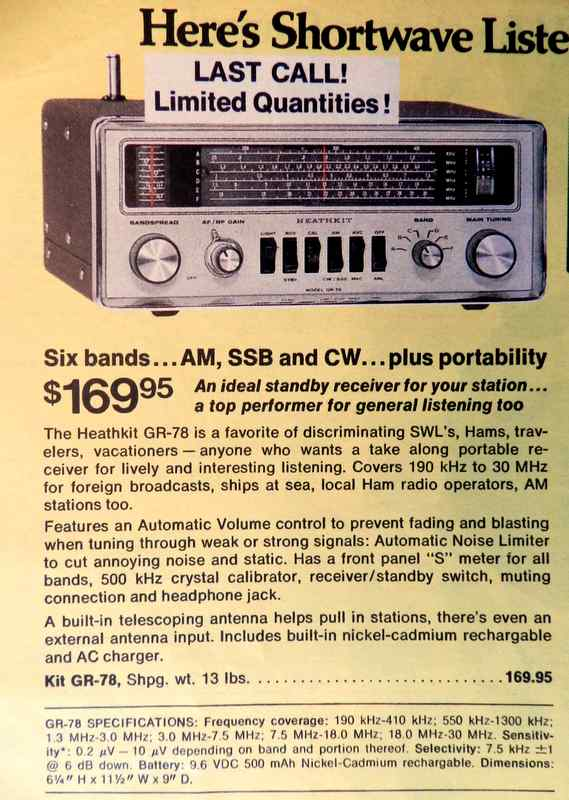 Heathkit GR-78 general coverage shortwave receiver ad in Winter 77 catalog